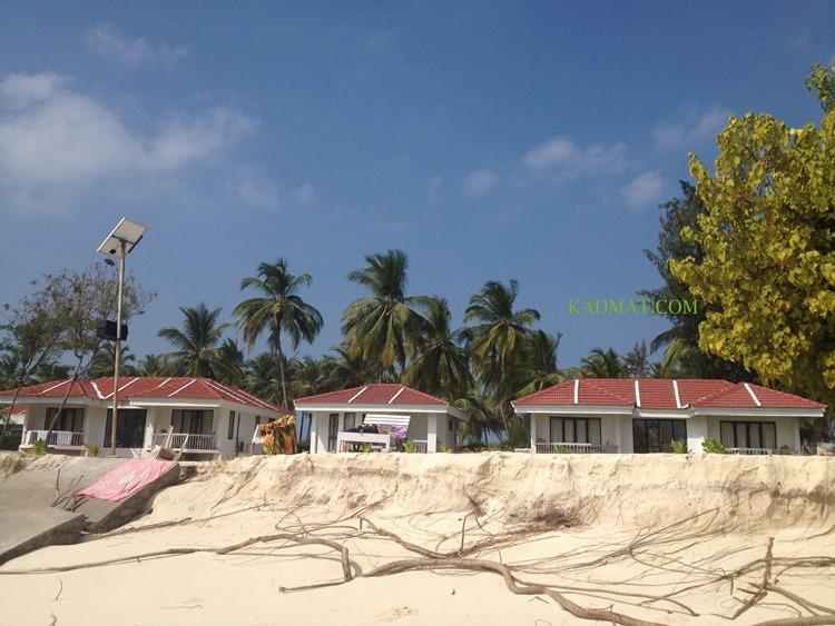 Sea Erosion at Kadmat Beach Resort, Kadmat, Lakshadweep. The island chain of Lakshadweep has got total shore length of 132 Km.