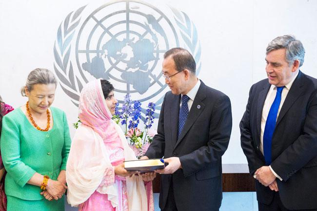 Secretary-General Ban Ki-moon-with-Malala Yousafzai-at-universal-education-Youth Assembly